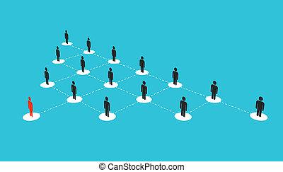 växande, begrepp, konst, nätverk, folk, abstrakt, isolerat, illustration, skapande, diagram, bakgrund., team., design, social, avdelning, tillsluta, intrig, gemensam, företag, struktur