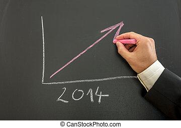 växande, graf, affär