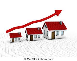 växande, hus, marknaden