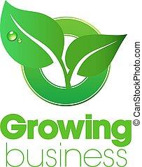 växande, logo, affär