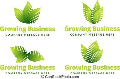 växande, logo, blad