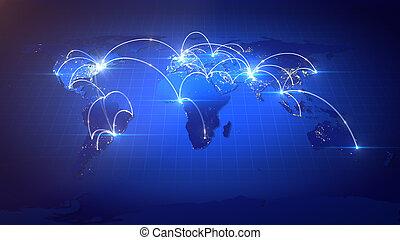 växande, network., global affär
