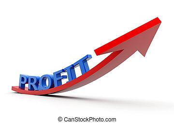 växande, profit, graf
