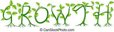 växt, begrepp, tillväxt, typografi