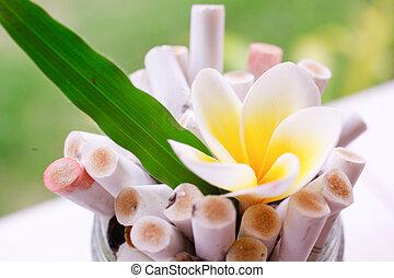 växt, blomma, askkopp, nej, Cigarretter, säga, grön