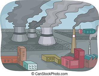 växt, driva, pollution
