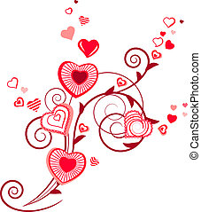 växt, hjärta, kontur, stylized, röd, formar
