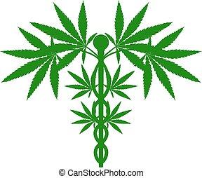 växt, medicinsk, caduceus, marijuana