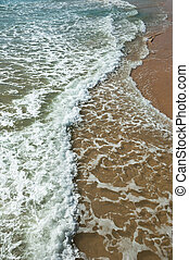 våg, av, den, hav, på, den, sandig badstrand