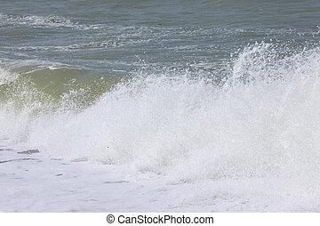 våg, och, bespruta, på, den, fransk, normandie, kust