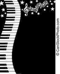 vågig, svart fond, tangentbord, piano, vit