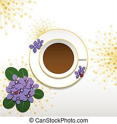 vår, afrikansk viol, med, kaffe kopp