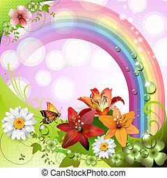 vår, bakgrund, med, blomningen