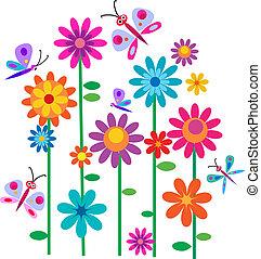 vår, blomningen, och, fjärilar