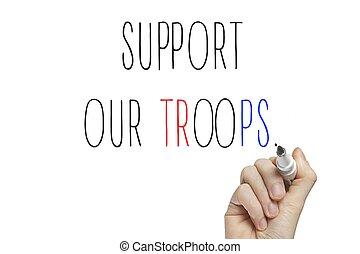 vår, stöd, hand, troops, skrift