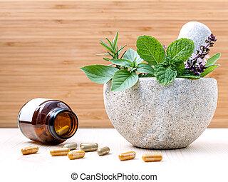vård- alternativ, omsorg, nya örtar, basilika, , mynta, och,...