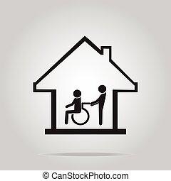 vårdhem, omsorg, underteckna, handikappad, ikon