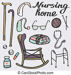 vårdhem, set., hand-drawn, stoppa, för, äldre, home., klotter, drawing.