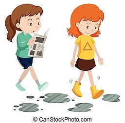 vårdslös, vandrande, försiktig, flickor, steg