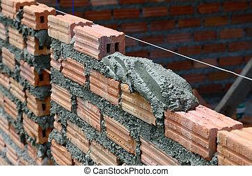 våt, brick., cement