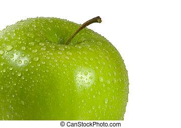 våt, grönt äpple