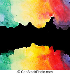 våt, urklippsalbum, utrymme, tom, message., färger, bakgrund, illustration, vektor, hand, komposition, elementara, paper., oavgjord, fläck, abstrakt, text, vattenfärgen, vattenfärg