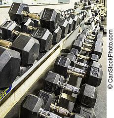 vægte, ind, en, gymnastiksal