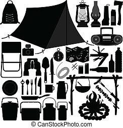 værktøj, fritids, skovtur, camping