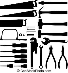 værktøj, hånd, samling, silhuet