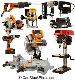 værktøjer magt, isoleret, på, en, hvid baggrund