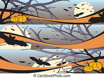 væv, bannere, halloween