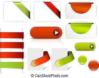 væv, elementer, vektor, grønne, sider, rød
