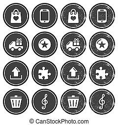 væv, etikette, navigation, retro, iconerne