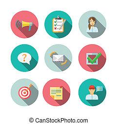 væv, feedback, iconerne, sæt