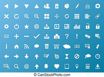 væv, hvid, sæt, navigation, iconerne