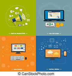 væv ikoner, medier, sociale, seo, konstruktion