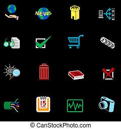 væv internet, series, sæt, ikon