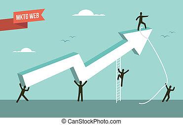 væv, markedsføring, kort, illustration, strategi, pil
