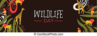 væv, naturliv, dyr, safari, vild, banner, dag