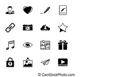 væv, sæt, iconerne, medier, longshadow, silhuetter, socia