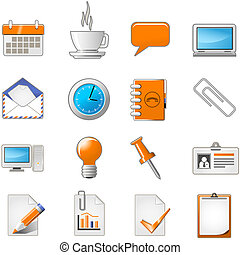 væv, sæt, kontor, side, tema, eller, ikon