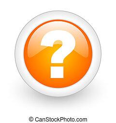 væv, spørgsmål, blanke, orange baggrund, mærke, ikon, hvid