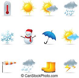 væv, vejr, -, iconerne