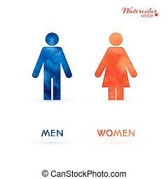 vécé, szoba, -, hím, cégtábla, átalakuló, női, öltözék