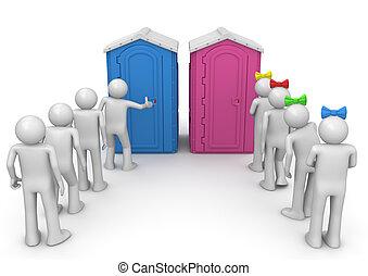 vécé, várakozás, megvonalaz, -, életmód, gyűjtés
