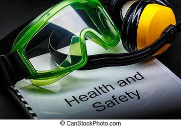 védőszemüveg, és, fülhallgató