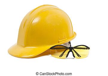 védőszemüveg, és, nehéz kalap