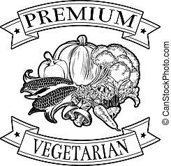 végétarien, prime, icône