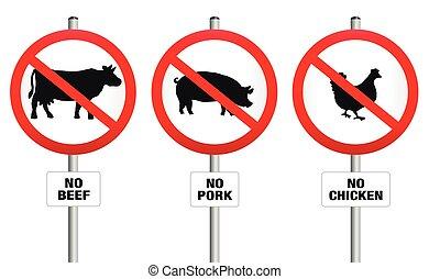 végétarien, sig, meatless, prohibition