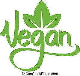 végétarien, vert, text.
